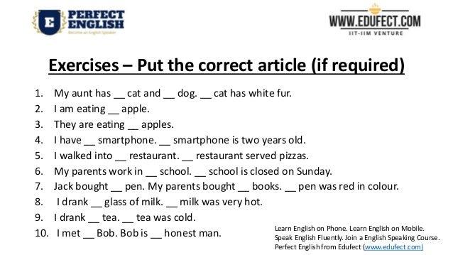 Articles In English Grammar Worksheet Robertdee.org