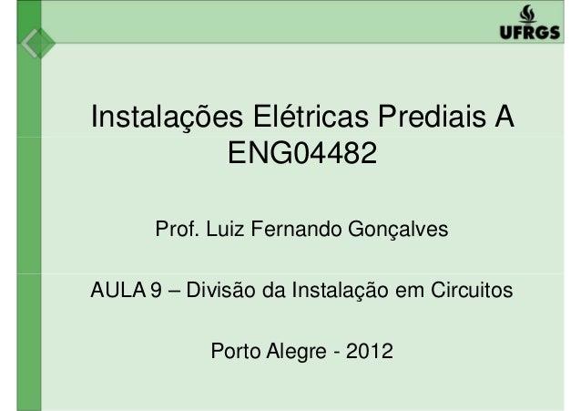 Instalações Elétricas Prediais A ENG04482ENG04482 Prof. Luiz Fernando Gonçalves AULA 9 – Divisão da Instalação em Circuito...