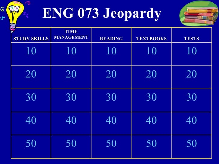 ENG 073 Jeopardy 50 50 50 50 50 40 40 40 40 40 30 30 30 30 30 20 20 20 20 20 10 10 10 10 10 TESTS TEXTBOOKS READING TIME  ...