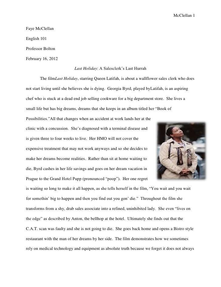 Last holiday essay