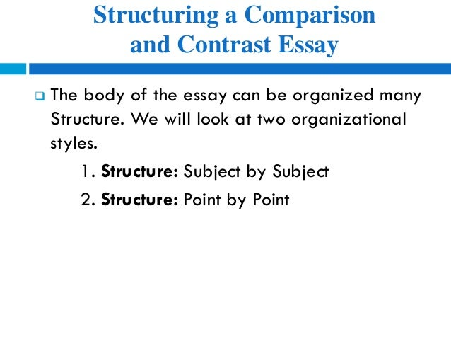 "compare and contrast essay using point-by-point Write well-supported body paragraphs using the ""point- by- point"" format of a comparison and contrast essay • a comparison and contrast essay examines the."