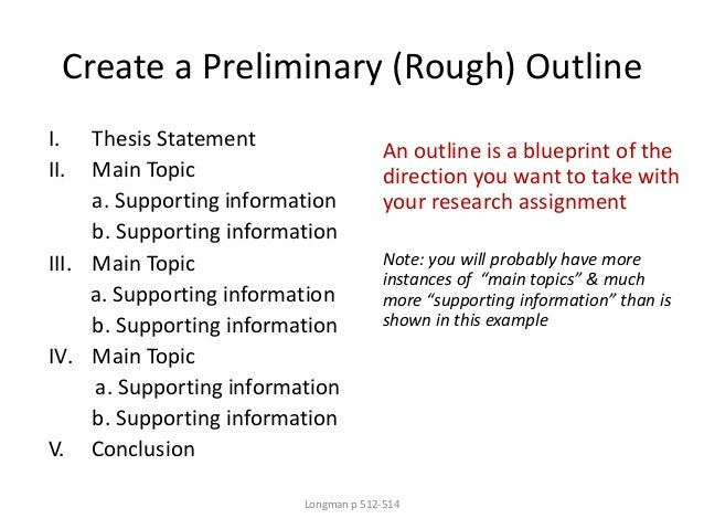 Create a Preliminary (Rough) Outline I. Thesis Statement II. Main Topic a. Supporting information b. Supporting informatio...
