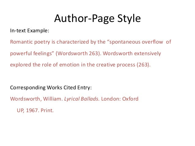 """Author-Page Style In-text Example: Romantic poetry is characterized by the """"spontaneous overflow of powerful feelings"""" (Wo..."""