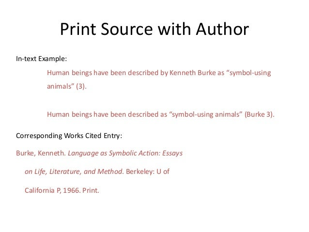 """Print Source with Author In-text Example: Human beings have been described by Kenneth Burke as """"symbol-using animals"""" (3)...."""