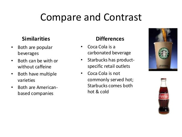 Compare and Contrast Similarities • Both are popular beverages • Both can be with or without caffeine • Both have multiple...