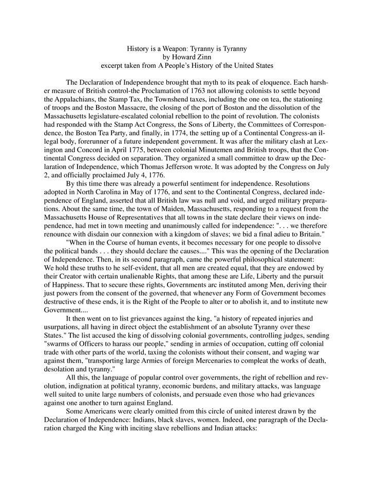 howard zinn tyranny is tyranny thesis