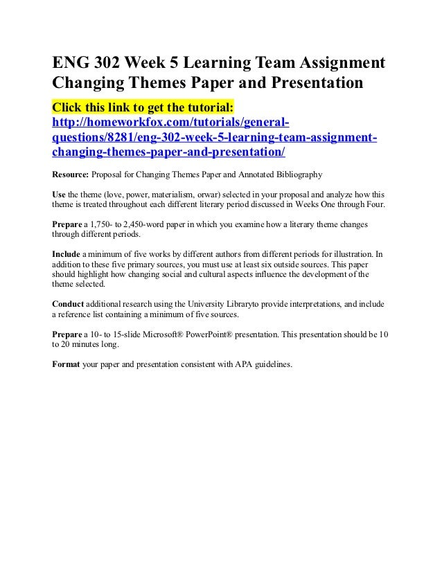 Assignment: changing perspective paper