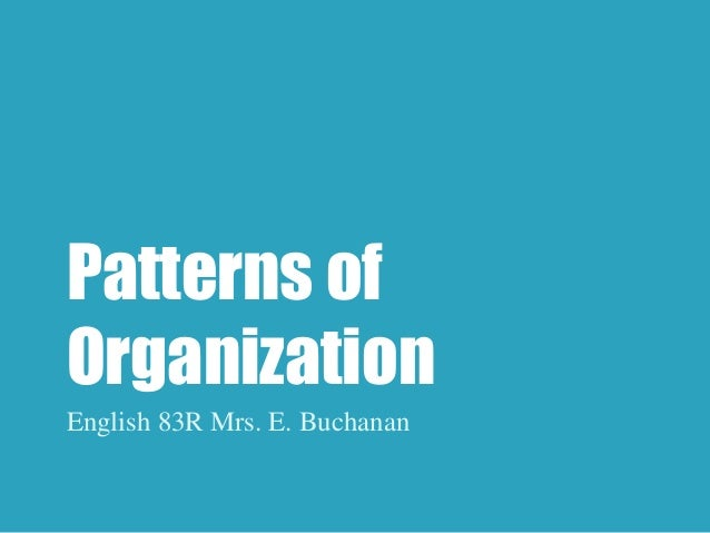 Patterns of  Organization  English 83R Mrs. E. Buchanan