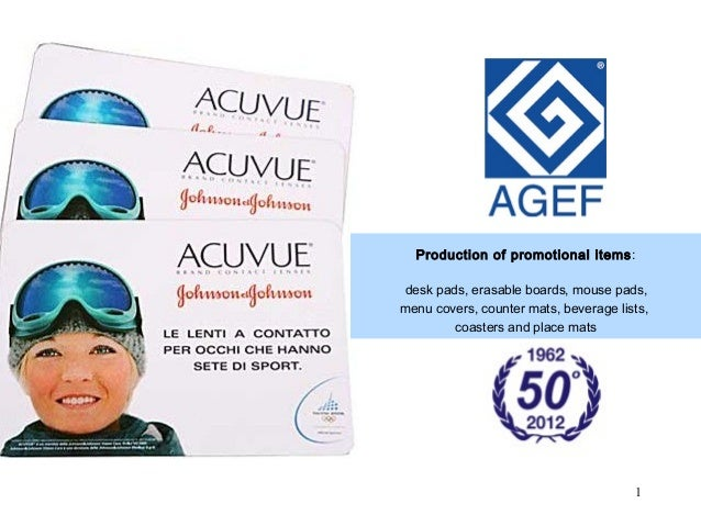 Production of promotional items:  desk pads, erasable boards, mouse pads,  menu covers, counter mats, beverage lists,  Pro...