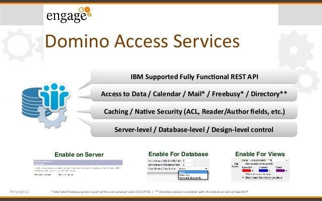 #engageug DominoAccessServices IBMSupportedFullyFunc6onalRESTAPI AccesstoData/Calendar/Mail*/Freebusy*/Di...