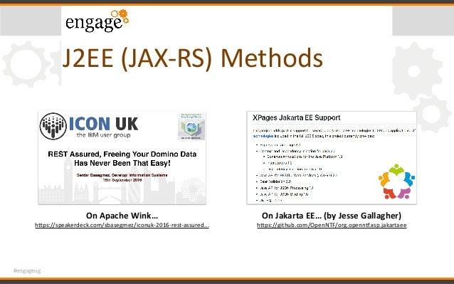 #engageug J2EE(JAX-RS)Methods OnApacheWink… hcps://speakerdeck.com/sbasegmez/iconuk-2016-rest-assured... OnJakarta...
