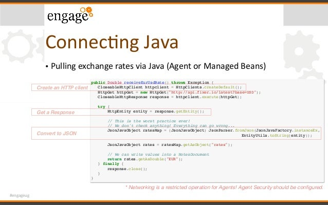 #engageug ConnecCngJava • PullingexchangeratesviaJava(AgentorManagedBeans) public Double receiveEurUsdRate() thro...