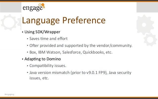 #engageug LanguagePreference • UsingSDK/Wrapper • SavesCmeandeffort • Owerprovidedandsupportedbythevendor/comm...