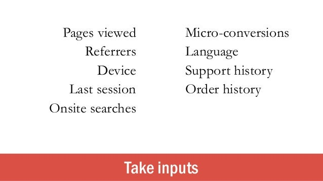 Take inputs Pages viewed Micro-conversions Referrers Language Device Support history Order historyLast session Onsite sear...