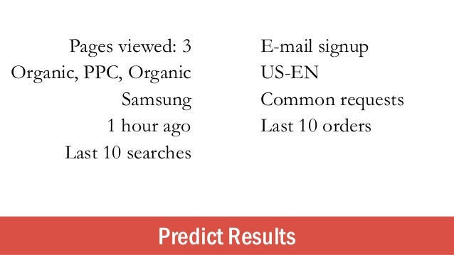 Predict Results Pages viewed: 3 E-mail signup Organic, PPC, Organic US-EN Samsung Common requests Last 10 orders1 hour ago...