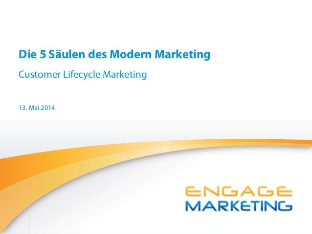 Engage Marketing GmbH Die 5 Säulen des Modern Marketing Customer Lifecycle Marketing 13. Mai 2014