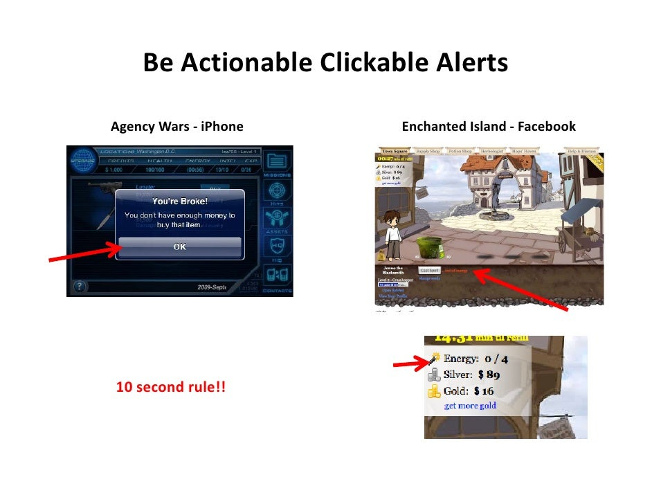 BeActionableClickableAlerts  AgencyWars‐ iPhone     EnchantedIsland‐ Facebook     10secondrule!!