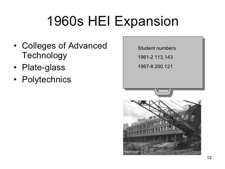 1960s HEI Expansion <ul><li>Colleges of Advanced Technology </li></ul><ul><li>Plate-glass </li></ul><ul><li>Polytechnics <...