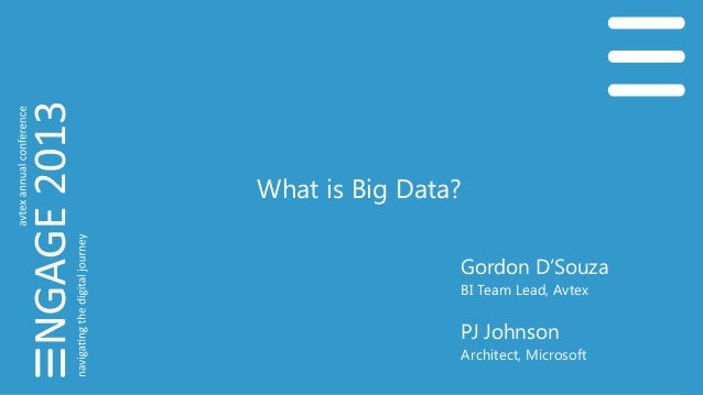 What is Big Data? Gordon D'Souza BI Team Lead, Avtex PJ Johnson Architect, Microsoft