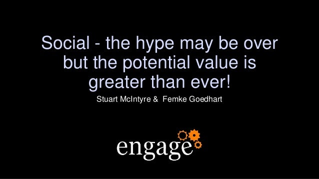 Social - the hype may be over but the potential value is greater than ever! Stuart McIntyre & Femke Goedhart
