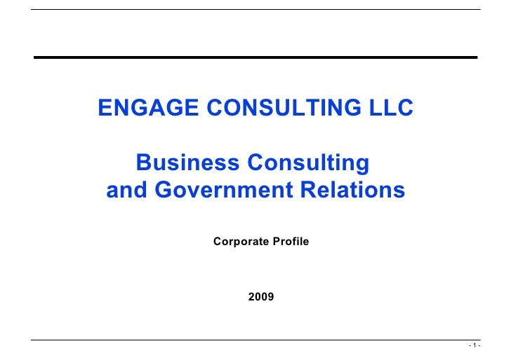 ENGAGE CONSULTING LLC Business Consulting  and Government Relations Corporate Profile 2009