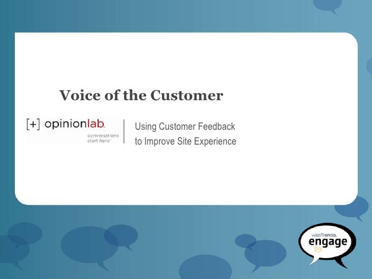 Voice of the Customer           Using Customer Feedback          to Improve Site Experience