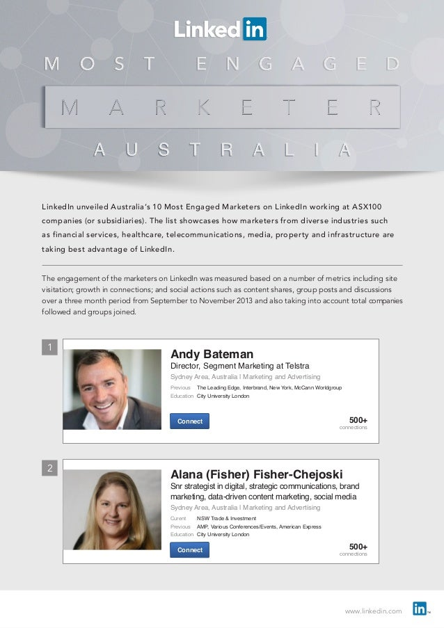 www.linkedin.com LinkedIn unveiled Australia's 10 Most Engaged Marketers on LinkedIn working at ASX100 companies (or subsi...