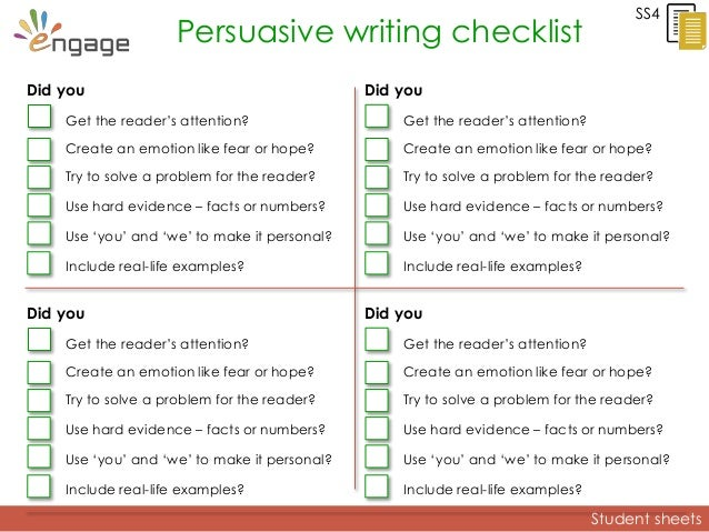 argumentative essay revision checklist