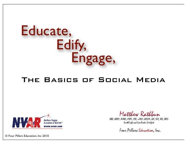 Educate,                  Edify,                     Engage,             The Basics of Social Media     © Four Pillars Edu...