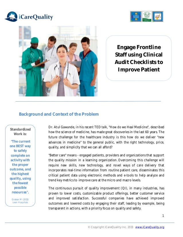 Engage Frontline Staff using Clinical Audit Checklists to Improve Patient  Background and Context of the Problem Standardi...