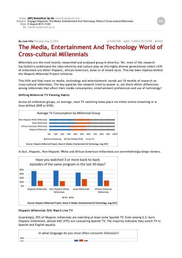 From: [MP] MediaPost Op-Ed news@mediapost.com Subject: Engage-Hispanics: The Media, Entertainment And Technology World of ...