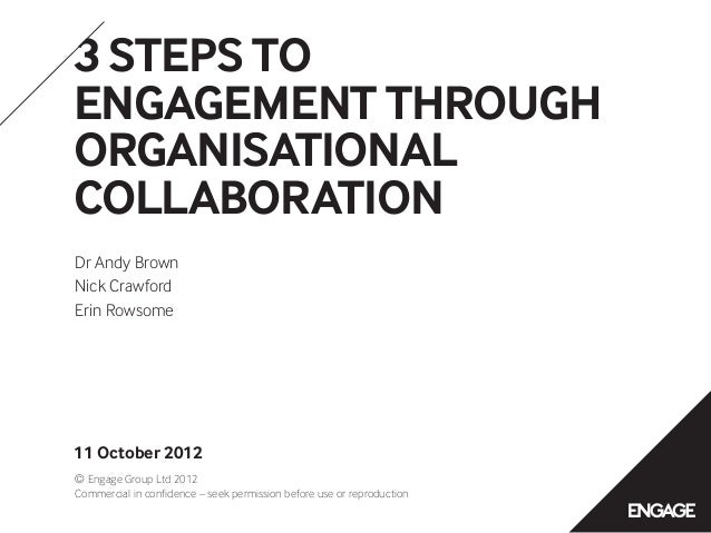 3 STEPS TOENGAGEMENT THROUGHORGANISATIONALCOLLABORATIONDr Andy BrownNick CrawfordErin Rowsome11 October 2012© Engage Group...