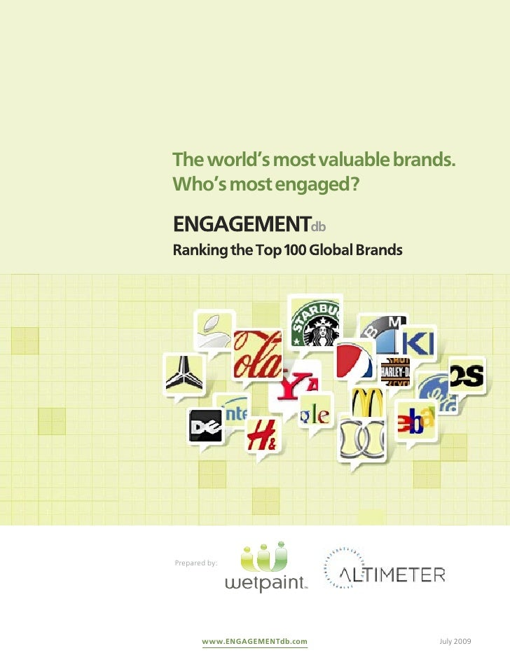 The world's most valuable brands.Who's most engaged?ENGAGEMENTdbRanking the Top 100 Global BrandsPrepared by:       www.EN...