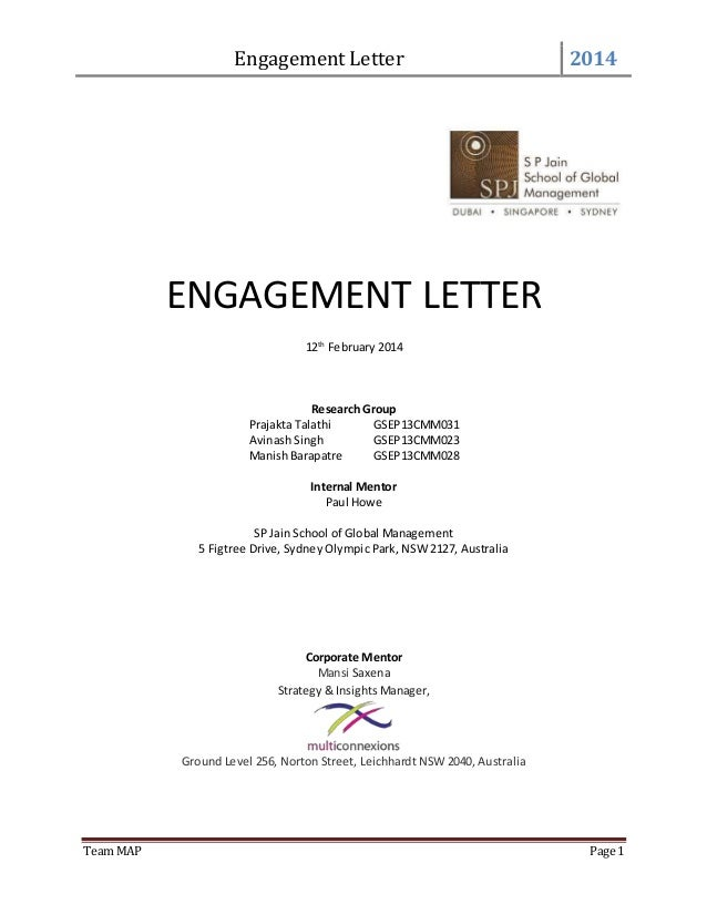Engagement Letter 2014 Team MAP Page 1 ENGAGEMENT LETTER 12th February 2014  Research Group Prajakta Talathi ...