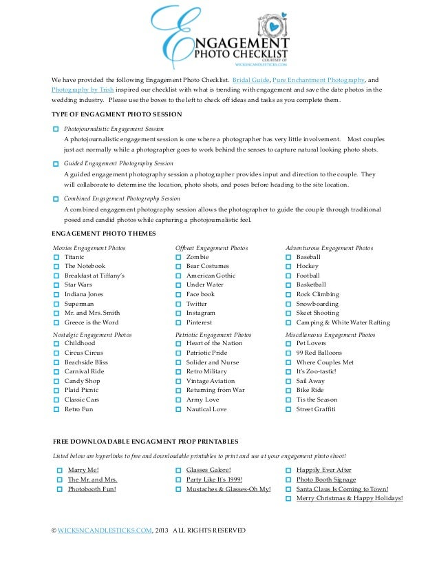 photo relating to Printable Wedding Photography Checklist named Engagement Photograph Listing