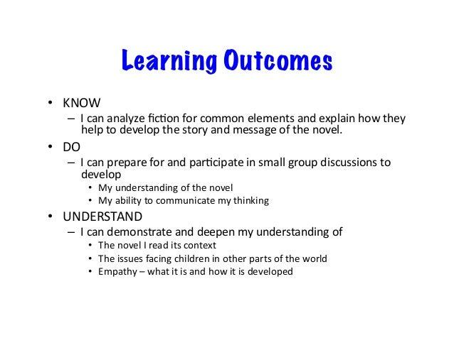 Learning Outcomes • KNOW – IcananalyzeficAonforcommonelementsandexplainhowthey helptodevelopthestoryand...