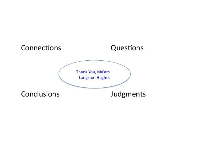 ConnecAons      QuesAons Conclusions      Judgments ThankYou,Ma'am– LangstonHughes