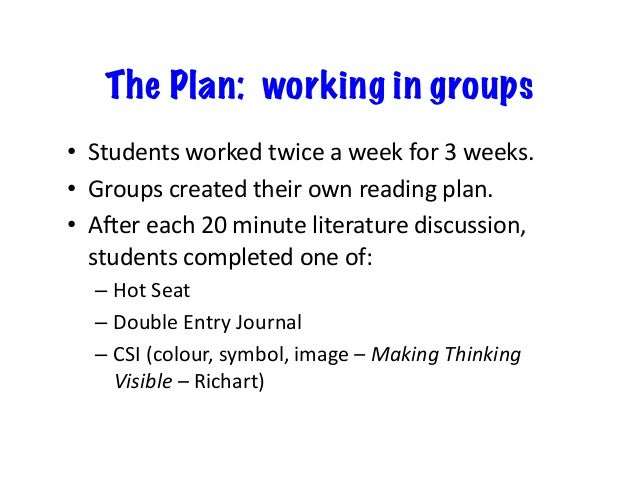 The Plan: working in groups • Studentsworkedtwiceaweekfor3weeks. • Groupscreatedtheirownreadingplan. • Ar...