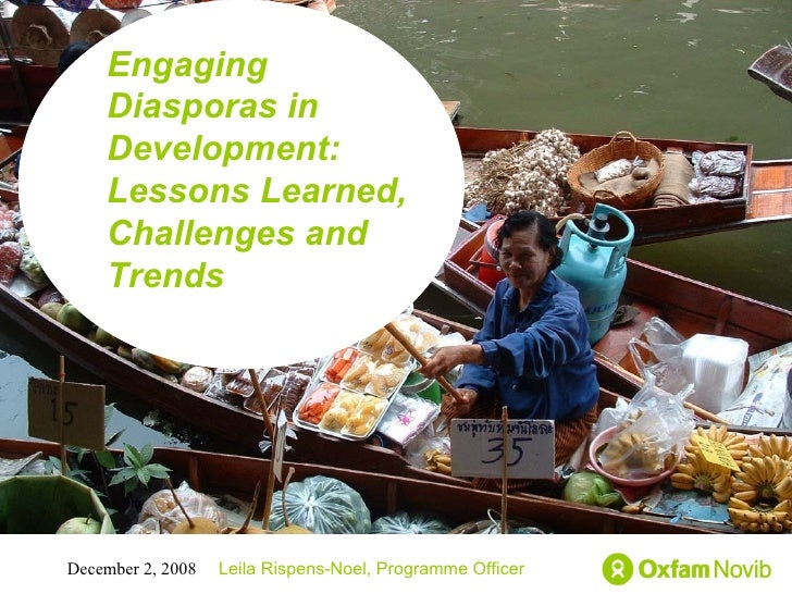 Title Sub-title Engaging Diasporas in Development: Lessons Learned, Challenges and Trends  Leila Rispens-Noel, Programme O...