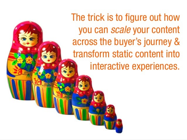 The trick is to figure out how  you can scale your content  across the buyer's journey &  transform static content into  i...