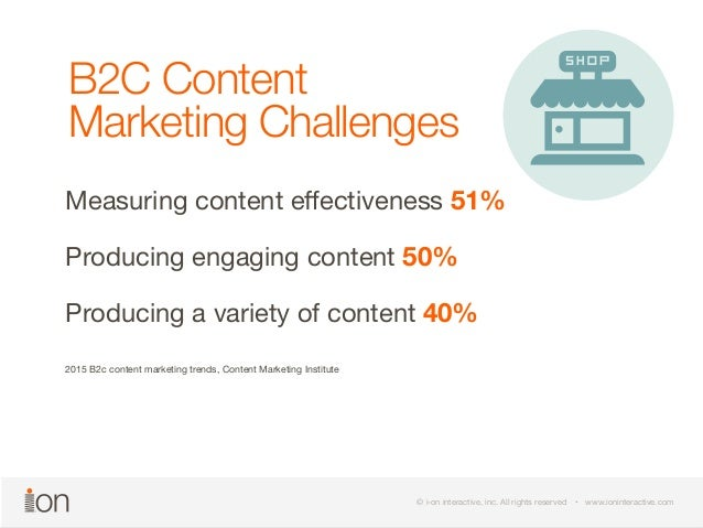 B2C Content  Marketing Challenges  Measuring content effectiveness 51%  Producing engaging content 50%  Producing a variet...