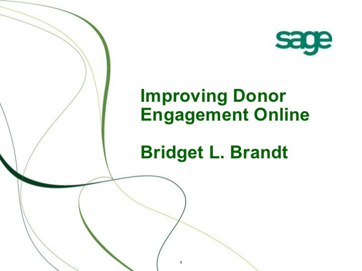Improving Donor Engagement Online Bridget L. Brandt