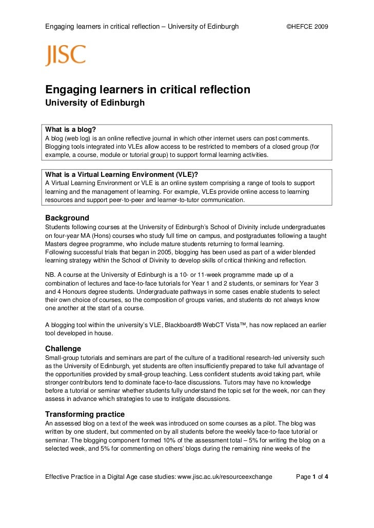 Engaging learners in critical reflection – University of Edinburgh                       ©HEFCE 2009Engaging learners in c...