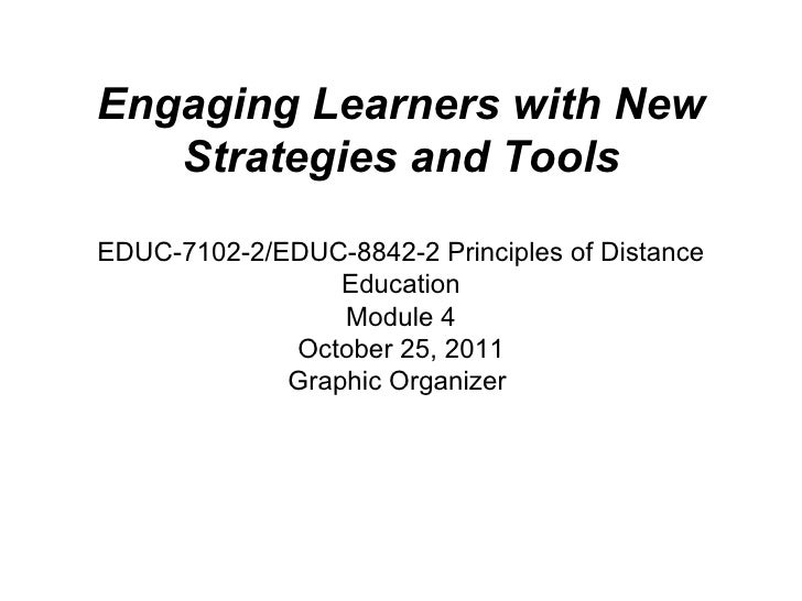 Engaging Learners with New Strategies and Tools EDUC-7102-2/EDUC-8842-2 Principles of Distance Education Module 4 October ...