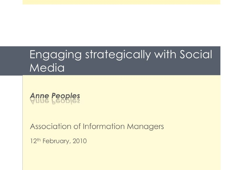 Engaging strategically with Social Media