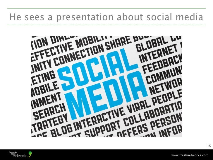 He sees a presentation about social media                                                      15                         ...