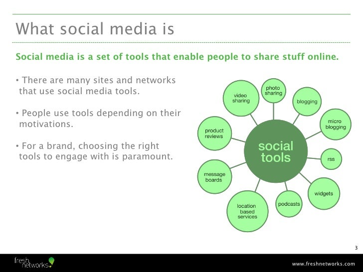 What social media isSocial media is a set of tools that enable people to share stuff online.• There are many sites and net...