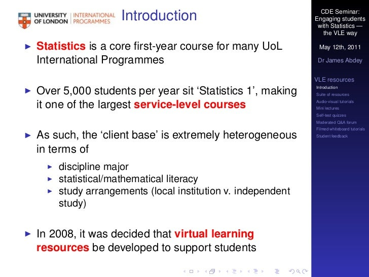 Engaging with statistics the VLE way