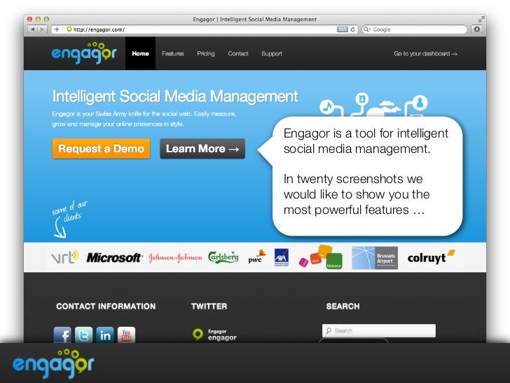 Engagor is a tool for intelligentsocial media management. In twenty screenshots wewould like to show you themost powerful ...