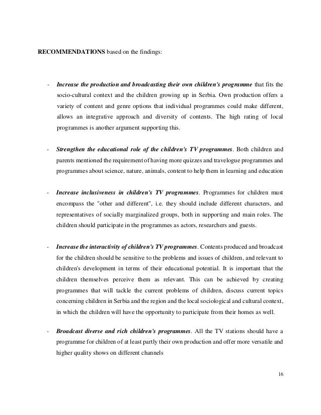 thesis in analysis of children tv programs A senior thesis submitted in partial fulfillment  in the honors program liberty university  external influences of children's socialization to gender roles.